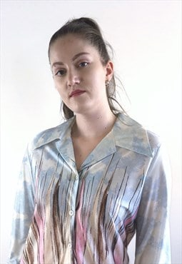Womens Vintage 70s blouse blue abstract patterned shirt top