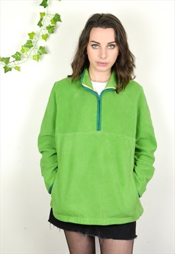 90s Vintage Old Navy Mid Green 1/4 Zip Fleece Pullover