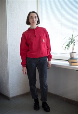 Vintage 90's Red Round Neck Jumper