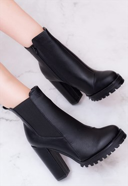 GUARA Block Heel Chelsea Ankle Boots - Black Leather Style