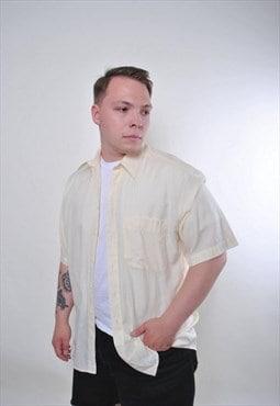 Vintage yellow short sleeve formal shirt