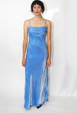 90s METALLIC GOWN (S) small womens dress baby blue spaghetti