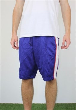 Vintage Japanese Cotton Basketball Shorts in Blue with Logo