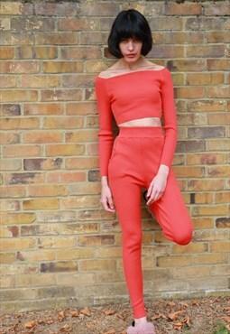 Off shoulder crop top leggings tracksuits suit set in orange
