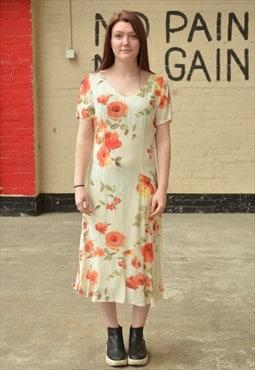 Vintage Rose Print Midi Dress