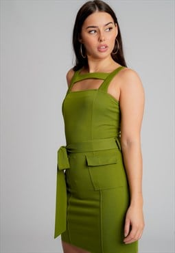 Military Bodycon Mini Dress In Khaki