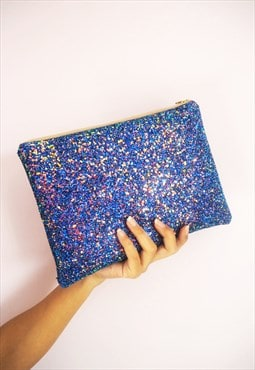 Glitter Clutch Bag in Royal Blue