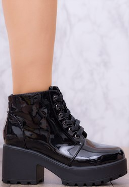 HOTHEAD Platform Block Heel Ankle Boots - Black Patent Style