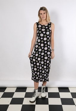 Vintage 90s circle print midi casual dress