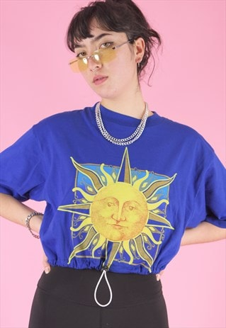 VINTAGE 90S REWORKED CROP TOP IN BLUE WITH SUN PRINT