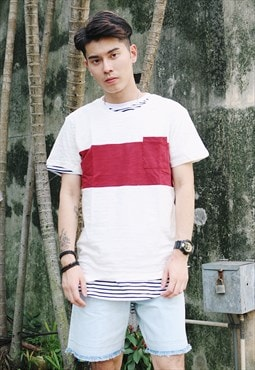 Stripe & Pocket T-Shirt - Red