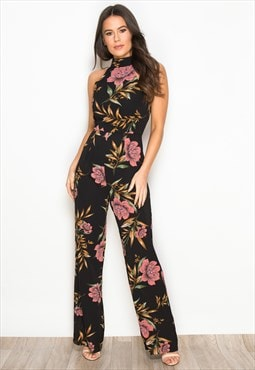 f3fb0aaf177 Kady Floral High Neck Sleeveless Jumpsuit Black Print