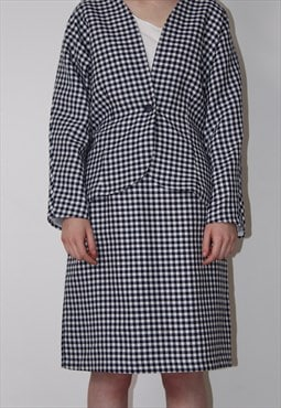 60s suit skirt and jacket check print