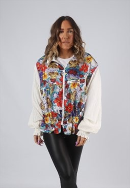 Shell Bomber Jacket Floral Oversized Patterned UK 14 (CKBC)