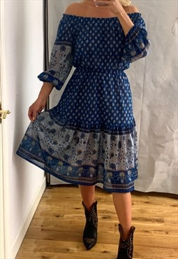 70's Blue Folk Smock Dress