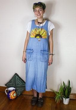 Handpainted Sunflower Denim Midi / Maxi Dress