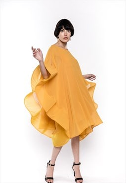 Oversized sleeves design party event Dress in Yellow