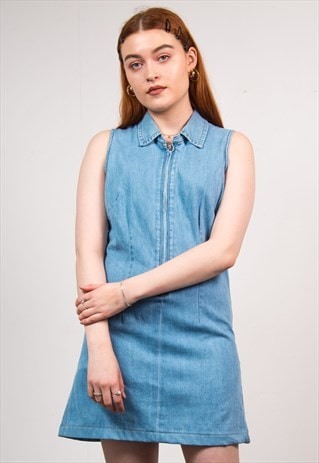 VINTAGE 90'S DENIM DRESS QUARTER ZIP