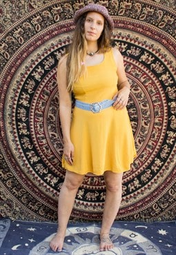 Vintage Sunflower Yellow Floaty Summer Dress