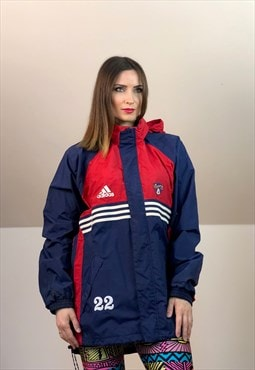 90s adidas run Windbreaker Jacket vintage blue white