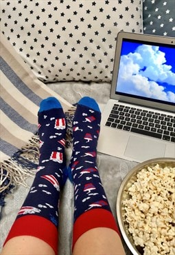 Funny Popcorn Socks, 2 different, for cinema and movie fan