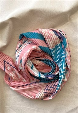 Pink and Blue Print Pleated Hair Scarf