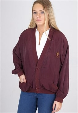 Vintage Wine Silk Bomber Jacket