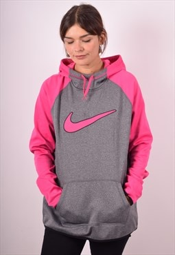 Nike Womens Vintage Hoodie Jumper Large Grey 90s