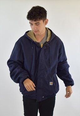 Vintage 90s Navy Blue Carhartt Hooded Parka Jacket