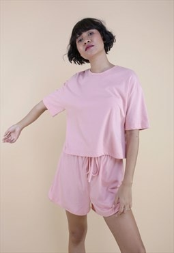 Half sleeves solid crop t-shirt in pink