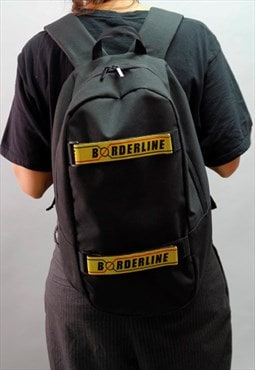 Black backpack - Rucksack with yellow velcro straps