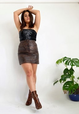 JOAN 70's Vintage Leather Snake Print Mini Skirt