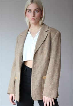 Vintage 90's Laurel Wool Suit Blazer Jacket in Beige