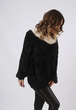 Knit Knitted Jumper Wool Oversized Sparkle Long UK 16 (CW2Y)