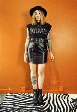 SAWN-OFF SHOTGUN : Black Snakeskin High Waist Belted Leather