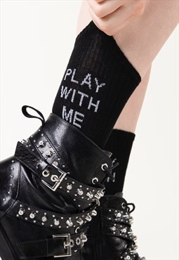 """Play"" - Woman Ankle Socks Black New Slogan  Socks"