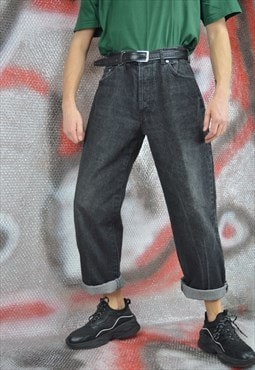 Vintage grey denim straight jeans trousers