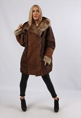 Vintage Sheepskin Suede Coat Hooded Bomber 18 - 20 3XL (LK1W