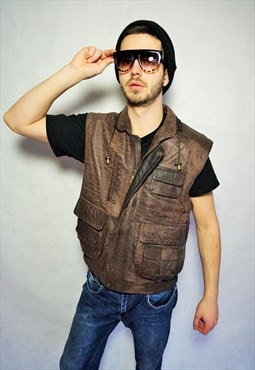 Vintage Genuine Leather Bomber Vest Top Brown Biker Rocker