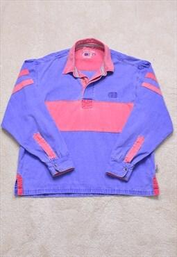 Vintage 90s Purple Pink Denim Rugby Polo Top