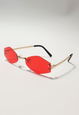 Slim Rimless Sunglasses in Red