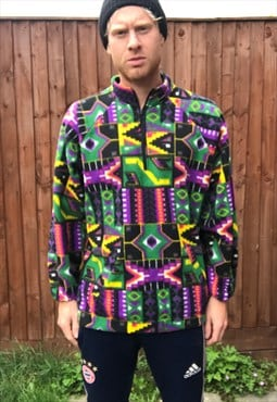 vintage retro aztec fleece jumper sweater M 1/4 festival 80s