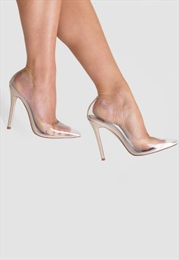 Kate Stiletto Heel Court Shoes in Nude Clear Perspex