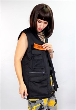 Unisex utility Orange Patch Gilet Vest