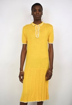 Vintage 90s Yellow Knitted Dress