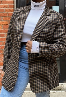 Vintage 90s Nude Plaid Wool Blend Blazer
