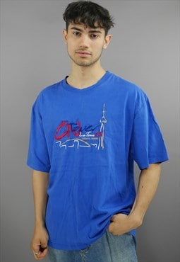 Vintage CN Tower Souvenir Tee Shirt In Blue With Logo