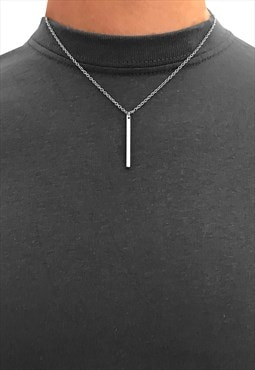 "20"" Stick Pendant Necklace Chain - Silver"