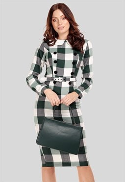 Clemence Checked Midi Shirt Dress 1950s Style