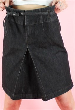 Vintage 90s Denim Skirt Y2K 00s Dark Grey Midi With Belt